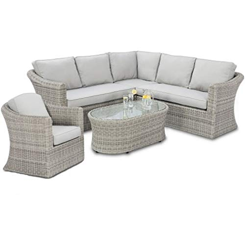 41WK3Hh1heL. SS500  - Cambridge Weatherproof Rattan Small Corner Group with Chair