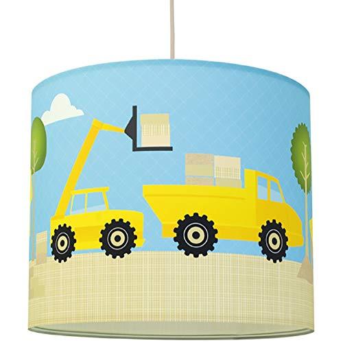 anna wand Hängelampe UNDER CONSTRUCTION - Lampenschirm für Kinder/Baby Lampe mit Baustellen-Motiv - Sanftes Kinderzimmer Licht Mädchen & Junge - ø 40 x 34 cm