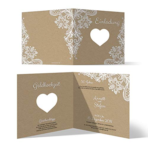 30 x Lasergeschnittene Hochzeitseinladungen Goldhochzeit goldene Hochzeit Einladung individuell - Rustikal Kraftpapier