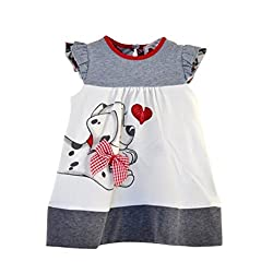 Little Girl Summer Dress Cartoon Dog Printed Cute Ruffle Sleeve One Piece Outfit Skirt For 0-5 Years Old Princess