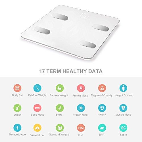 Báscula Baño Vigorun Báscula Grasa Corporal,  Básculas Digitales con App y 17 Datos del Cuerpo,  Balanza Baño para Peso,  Músculo,  Grasa Corporal,  IMC,  BMR,  Tasa de proteína,  Masa Ósea,  y así./max 180kg