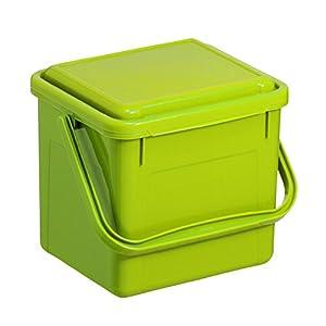 Rotho Bio Komposteimer 5 l für die Küche, Kunststoff (PP), grün, 5 Liter (21 x 20 x 18 cm)