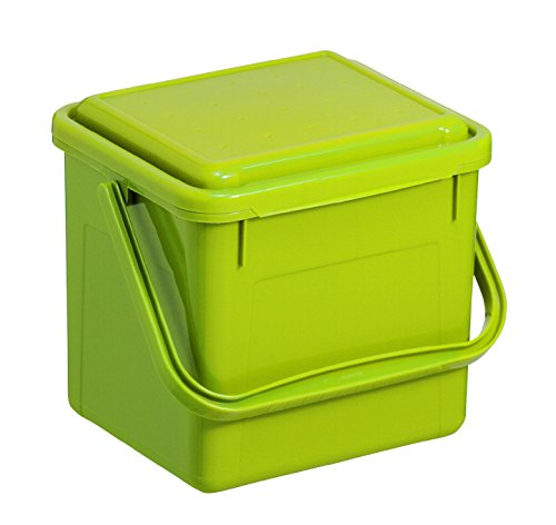 *Rotho 1770505519 Komposteimer Bio, Abfallbehälter für die Küche aus Kunststoff mit Geruchsdichtem Deckel in Hellgrün, Biomülleimer mit 4,5 L Inhalt, Circa 21 x 20 x 18 cm Komposteimer, Plastik*