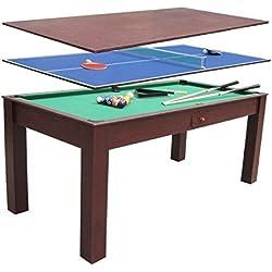 Billar 3 en 1 ping pong y mesa de comedor escritorio 1,84x91 cm