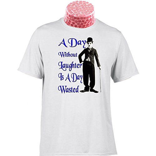 CHARLIE CHAPLIN T SHIRT A Day Without Laughter Is A Day Wasted, Classic comedy gift. Excellent gift for comedians, teachers, movie buffs. End of School Term Gifts, Funny Novelty T Shirt for Funny People, Jokers and Jesters
