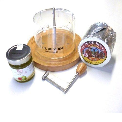 Komplett Set Käsehobel 1 ganzer Laib ca 850g Tete de Moine Mönchskopfkäse 250g Feigensenf Haube -