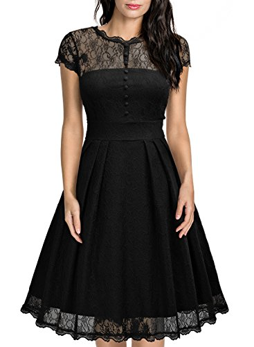 Miusol Damen Elegant Spitzenkleid Cocktailkleid Knielanges Vintage 50er Jahr Abendkleid Schwarz Gr.M