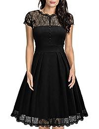 Miusol Damen Elegant Sommerkleid Spitzen Cocktailkleid Vintage 50er Jahr Abendkleid Schwarz Gr.S-3XL