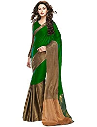 Saree Black And Gold Cotton Silk Linnig Aura Type Casual Wearing With Blouse Women's Saree)