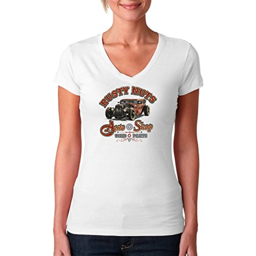 Hot Rod Girlie V-Neck Shirt - Hot Rod: Rusty Nuts Auto Shop - Used Parts by Im-Shirt Weiß