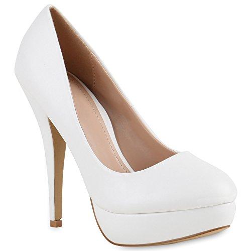 Damen High Heels Plateau Pumps Leder-Optik Braut Stilettos Abend Peeptoes Spitze Schuhe 140588 Weiss Glatt Cabanas 38 | Flandell®