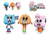 """GMBALL Lo Straordinario Mondo di Gumball - Confezione 3 Peluche della Serie Gumball: Darwin (Arancione), Gumball (Blu), Anaïs (Rosa) 12 """"/ 30 cm - qualità Super Soft"""