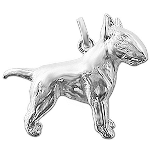 CLEVER SCHMUCK Silberner Anhänger 3D Bullterrier 19 x 25 plastisch und glänzend Sterling Silber 925 (Pitbull Schmuck)