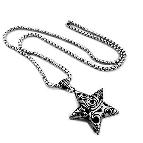 Flkayjm–Collar acero inoxidable, colgante amuleto, pentagrama, estrella de cinco puntas, flor hueca, diseño vintage, regalo para hombre y mujer, con cadena de 74cm, color plata y negro