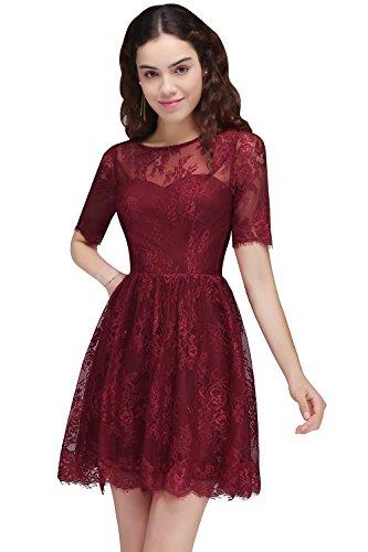 Damen A-Linie Abendkleid Cocktailkleid Spitzen Ballkleid Hochzeitskleid Brautjungfernkleid Weinrot...