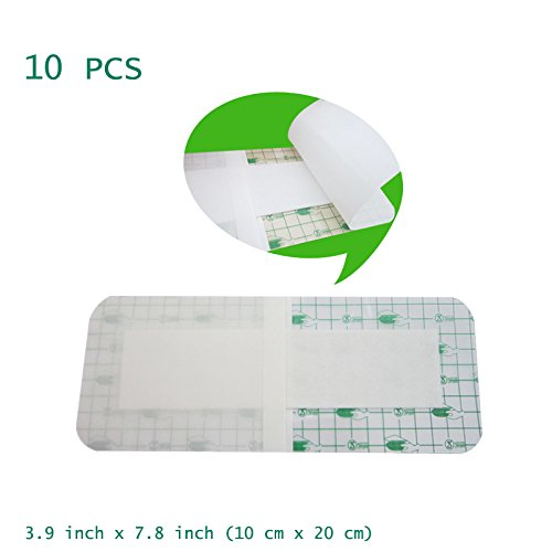 Funwill 10 Stück Medizinische Verband Einweg, sterile Wundwunde wasserdichte Badepfosten, antiallergische Selbstpaste, 10 cm x 20 cm -