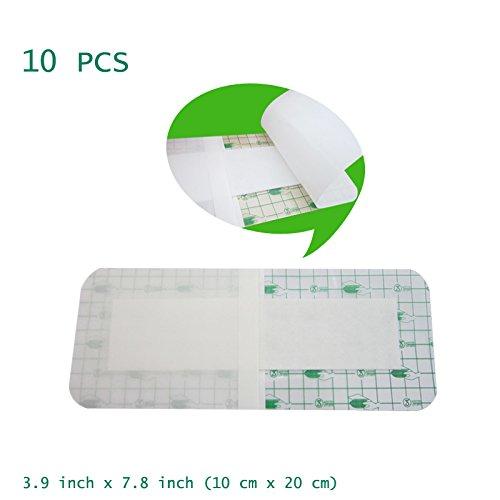 Funwill 10 piezas apósitos médicos desechables estériles para ropa de cama herida impermeable, postes de baño, antialérgico autopasteado 10 cm x 7,8 pulgadas (10 cm x 20 cm)