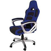 La Silla Española Luanco Silla de Oficina Gaming con Reposabrazos, Piel Sintética, Azul y