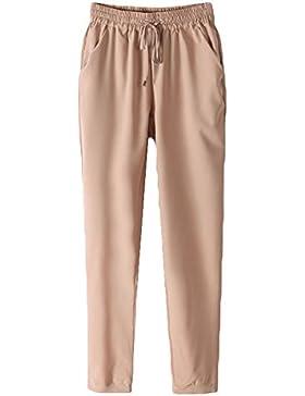 Pantalones Largo para Mujer - Moda Elegantes Delgado Fit Skinny Pantalon de Chifón Cómodo Cintura Elástica Casual...