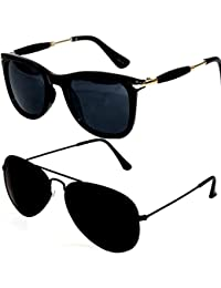 Y&S Uv Protected Non Polarized Men's Women's & Girl's Sunglasses Combo (Cm-Blk-Gldn-Stk+Blkblkaviator|55|Aviator)