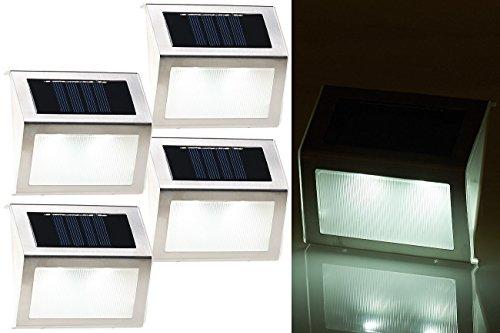 Lunartec Solar LED Wandleuchte: 4er-Set Solar-LED-Wand- & Treppen-Leuchten für außen, Edelstahl, 20 lm (Treppenleuchten)