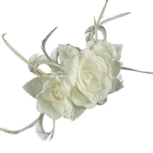 Euphyllia e8103ivy Belinda Accessoire de coiffure pour mariage Magnifique fleur fixée sur un peigne Ivoire