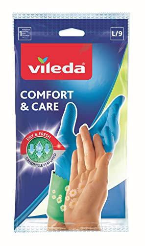Vileda Comfort & Care Gummihandschuhe mit Kamille Lotion - Größe L (Groß) - 1 Paar