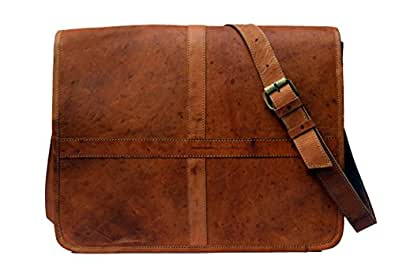 KGNExportsHouse , 15 Inch Leather Laptop Messenger Bag Men Women - Brown