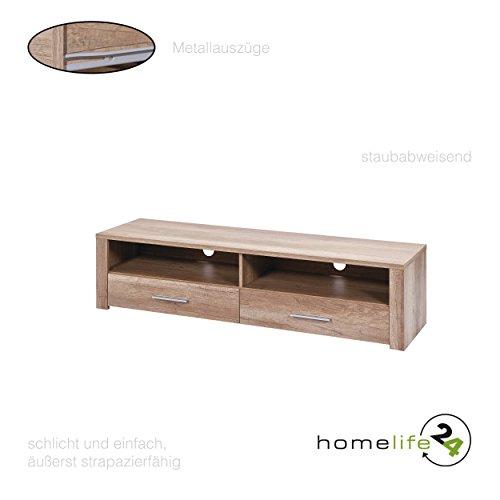 Low Sideboard (TV Lowboard Konsole in der Farbe Eiche Sonoma weiß hochglanz Fernsehtisch Sideboard Fernsehregal mit 2 Schubladen und 2 Ablagefächer)