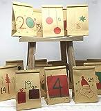 Deingastgeschenk Schöner Adventskalender zum Befüllen - 24 Tütchen aus Kraftpapier