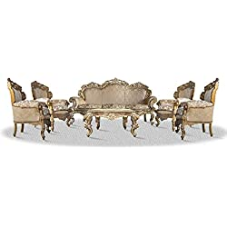 Casa Padrino baroque sofa set 3 seat sofa 4 armchairs and table with glass top - Antique Style Living Room