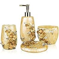 siloko classica oro floreale 4pezzi set di accessori da bagno,