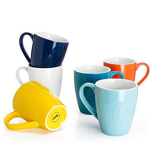 Sweese 6202 Kaffeebecher Kaffeetassen 6er Set aus Porzellan, 400ml, Tasse mit großem Henkel für...