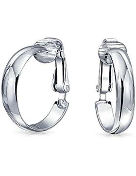 925 Sterling Silver Hoop Clip On Earrings .75in Alloy Clip