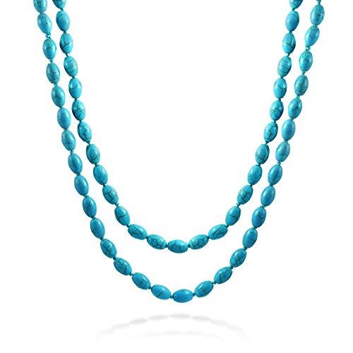 ndlos Langen Verknoteten Layer Oval 8 Mm Schicht Komprimierte Türkis Strang Perle Halskette Für Frauen 46 Zoll ()