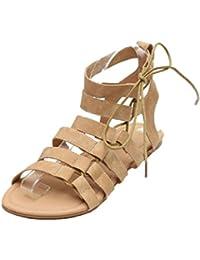 da8fc0838df87 PAOLIAN Sandalias de Vestir para Mujer Verano 2018 Playa Talla Grande Romano  Sandalias de Cruz de Cordones Suela Blanda Zapatos de…
