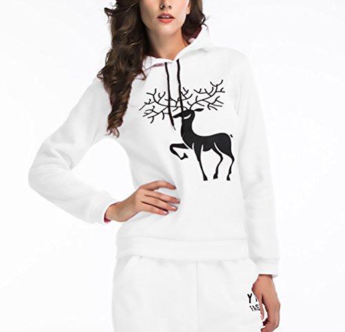 Felpa Donna Cappuccio Elegante Natale Renna Stampato Manica Lunga Vintage Moda Casual Autunnale Invernale Caldo Sportiva Corto Felpe Con Cappuccio Hoodies Pullover Tops Bianco