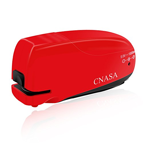 Elektrischer Hefter, CNASA Elektrohefter mit Heftklammerentferner und USB-Kabel, Automatischer Hefter für Haus, Büro, Klassenzimmer und Schule, 10 bis 16 Blatt, Rot