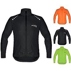 Brisk bicicleta ultraligera todo tipo de clima resistente al agua chaqueta impermeable de deportes para ciclismo, formación lluvia desgaste ciclismo vela, barcos Surf parasailing, Remo, chaqueta playa chaqueta para correr viento Tapón. (negro, tamaño mediano)
