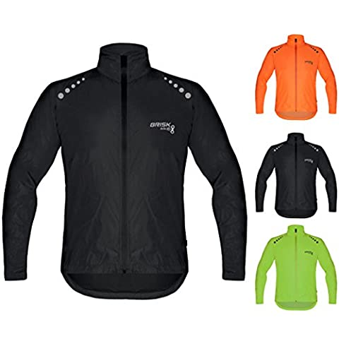 Brisk Bike Ultra-light all weather waterproof sports rain jacket for cycling, training rain wear bicycling sailing , boating surfing parasailing, rowing, jacket beach running jacket wind stopper. (Black,