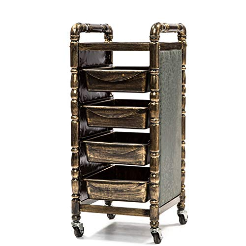 Price comparison product image DANTB Retro Salon Hairdressing Trolley Hairdresser Barber Beauty Storage Hair Spa Roller Cart Salon Tray with 4 Pullout Golden Drawers, retrotrolley4