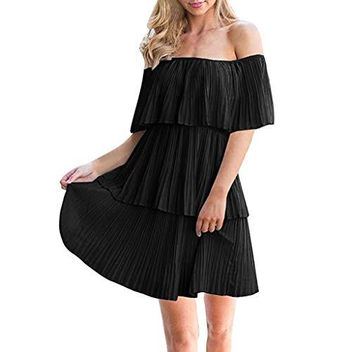 HET Sexy Frauen Casual Off The Shoulder Solide Sleeveless Tiered Ruffle Plissee Kurzes Kleid Minikleid Tiered Kleid