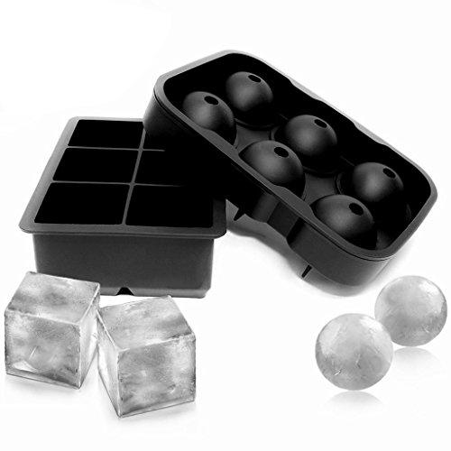 cuigu 1Set Silikon Cube Tabletts Kugel Runde Ice Ball Maker Form Matte Schwarz
