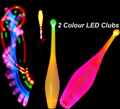 3x One-Piece LED GLOW Juggling Clubs Set of 3  26 Colour Variations     Flames N Games Travel Bag  Quality Training GLOW LED Juggling Club Set Ideal For Beginners   Advance Jugglers   Orange Blue