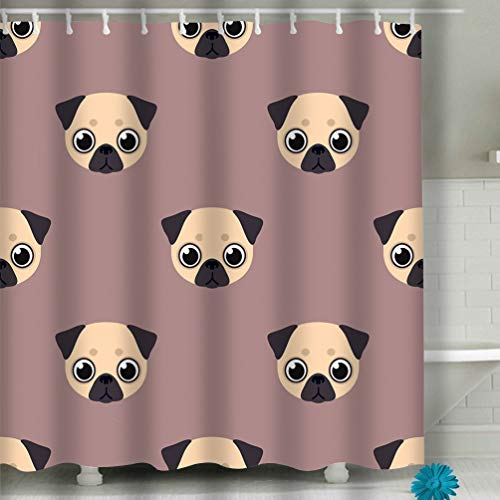suzhoudoushioumiyafushi Shower Curtain Set with 12 Hooks Floral Bath Curtain Thick Fabric Bathroom Curtains Home Decorations for Bathroom 60x72 INCH Flat Pug face Style Cute Animal -