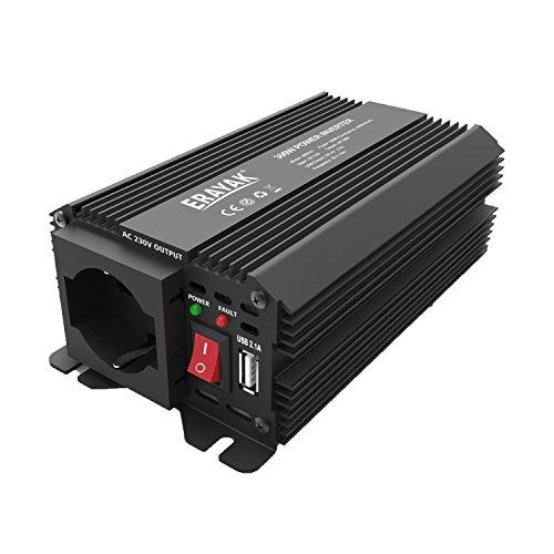 ERAYAK 300W DC12V a AC230V Inverter di Potenza per Auto con 2.1A USB con Presa Italiana