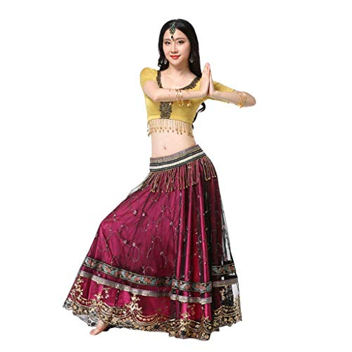 Z&X Frauen Belly Dance Rock Bollywood Rock Kostüm Indian Sari Performance Clothing, Polyester Fiber (Polyester) Contains Girdle, Tops, Rock, (Sari Dance Kostüm)