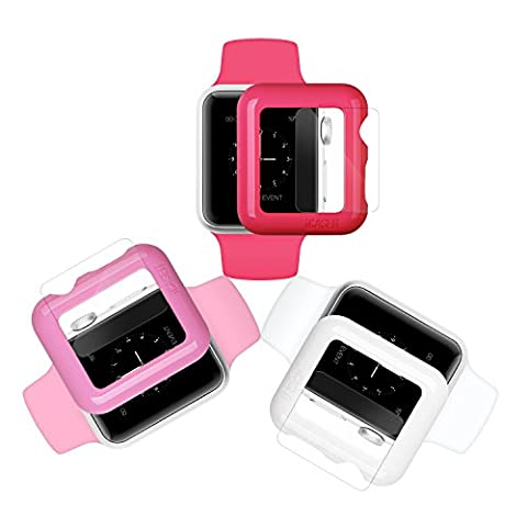 iCASEIT Apple Watch Snap-On Case & Glass 42mm (Pack of 3) Premium Slim & Light Impact & Scratch Protection (Include 3 Screen Protectors) iWatch Cases 42 mm - Hot Pink, Baby Pink &