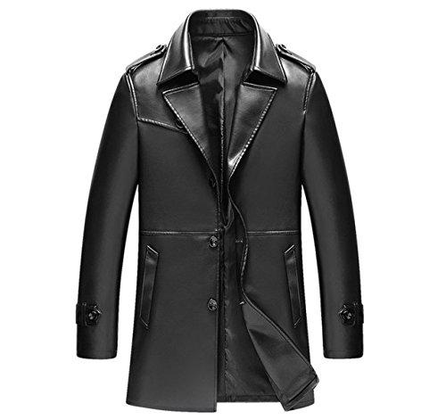 Button Business-anzug (GTYW Männer Herbst / Winter Herren Lederjacke Anzug Long Style Revers Business Schlank PU-Leder Washed Jacket,Black-M)