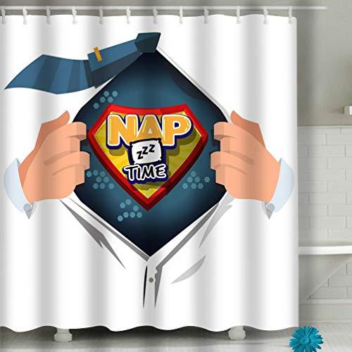 Xunulyn Beach Shower Curtain Man Open to Show nap time Logotype Comic Style Fabric Bathroom Decor 60 X 72 Inch